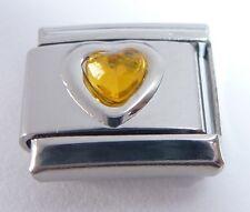 BROWN HEART GEM Italian Charm - Love November Birthstone 9mm classic size GEMS