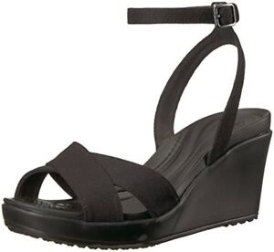 Details about Crocs Women's Leigh II Ankle Strap Wedge Sandal Black Worldwide 100% Authentic