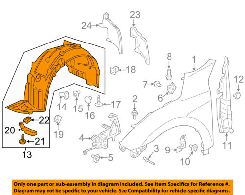 HONDA OEM 2017 Civic-Fender Liner Left 74151TGGA50