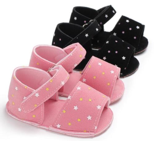 New Arrival Baby Girl Stars Pram Shoes Soft Sole Trainers Summer Sandals 0-18 M