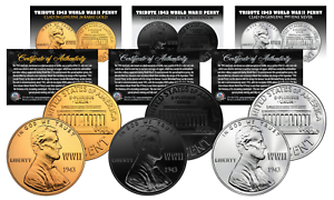 1943-TRIBUTE-WWII-Steel-Penny-Coins-3-Versions-BLACK-RUTHENIUM-24K-GOLD-SILVER