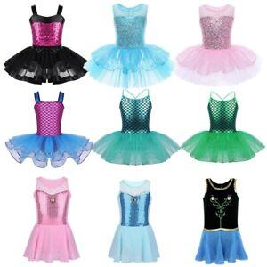 Toddler Girls Gymnastic Ballet Dance Tutu Dress Leotard Skirt Princess Costume