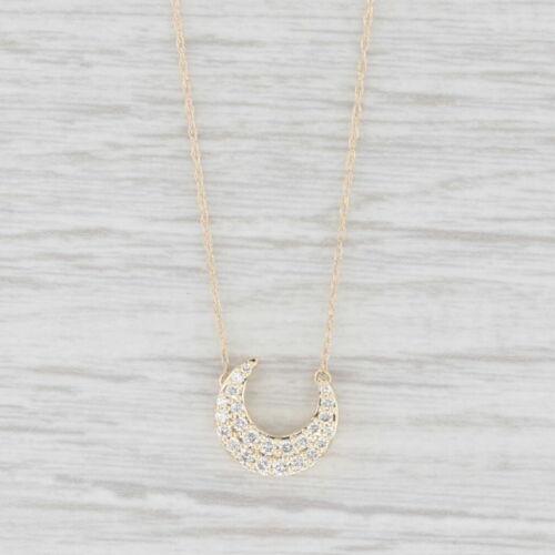 "Nouveau 0.24ctw Diamond Crescent Moon Stationary Collier Pendentif or 10k 16/"""