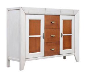 Aparador bicolor con 5 cajones madera cerezo y blanco, mueble de ...