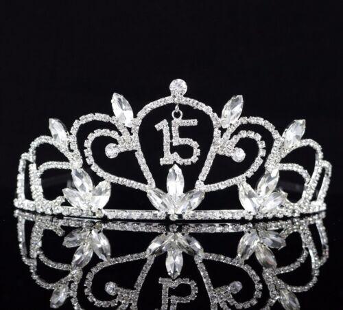 Quinceanera 15 Fifteen Birthday Party Rhinestone Tiara Crown W// Hair Comb T47