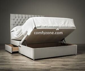 Phenomenal Details About Grey Silver Half Ottoman Divan Bed Headboard Double 6Ft Super King Size Andrewgaddart Wooden Chair Designs For Living Room Andrewgaddartcom