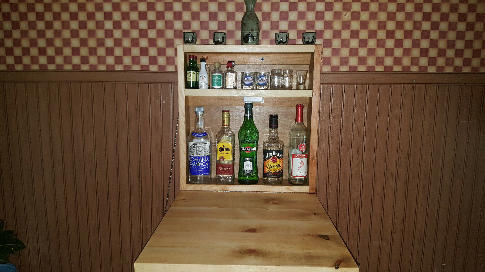 Rustique Murphy bar MAN CAVE liquor cabinet salle de jeux Replier Bar Mural