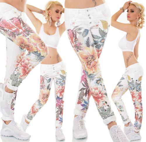 ITALY Jeans Donna Pantaloni Pantaloni lunghi cavallo basso Chino Bottoni TROPICAL PRINT Fiori S M L XL