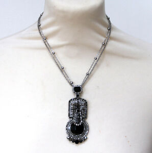 Butler and wilson black pewter crystal art deco pendant necklace new image is loading butler and wilson black pewter crystal art deco mozeypictures Image collections