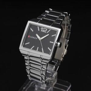 Curren-Quartz-Square-Black-Face-Stainless-Steel-Silver-Men-Wrist-Watch-Sports