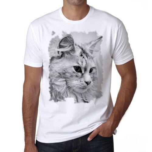 Weiß Rund Halsausschnitt Cat Maine Coon Tshirt Herren