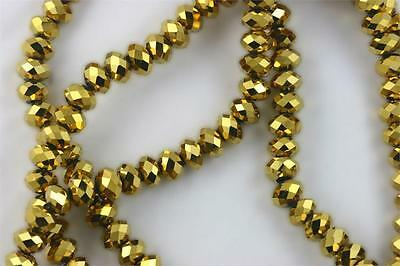 """16"""" Str. 8mm Chinese Crystal Glass Beads Faceted Rondelle Gold 72 beads"""