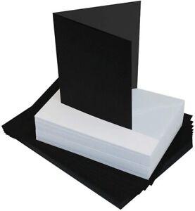 40 x 12.7cm x 17.8cm Nero Biglietti Vuoti 225gsm & Buste Bianche 100gsm