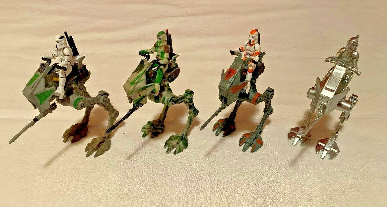 Star Wars Titanium Die-Cast AT-RT Walker COMPLETE SET OF 4 Clone Wars Raw Metal