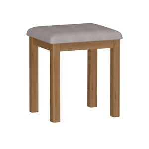 Details about CHESTER OAK SMALL BEDROOM STOOL / UPHOLSTERED FABRIC SEAT