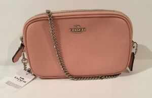 f821a32924 Details about NEW COACH Chain Strap Crossbody Pebble Leather Bag Handbag  Purse Petal Pink