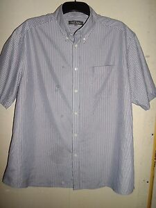 MARKS-AND-SPENCER-NAVY-STRIPED-SHORT-SLEEVED-SHIRT-SIZE-XL-44-46