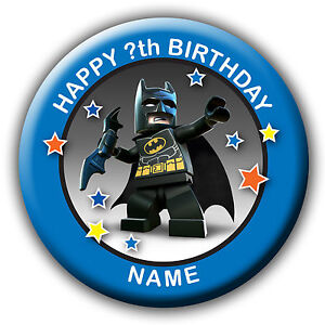 PERSONALISED BATMAN BIRTHDAY BADGES/FRIDGE MAGNET/NO PIN- 58MM or 77MM
