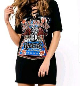87526593beb Black T Shirt Dress Size 10 Beth Lace up Petite Racers Tattoo ...