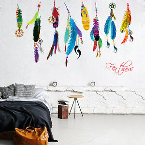 1pc-colorful-feather-wall-decal-liveroom-decal-DIY-removable-Wall-Decals-sticker