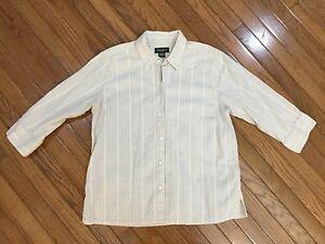 EDDIE-BAUER-Beige-Striped-Button-Down-3-4-Sleeves-Shirt-Blouse-Top-Size-XL
