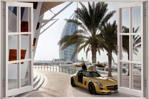 Huge 3D Window view Golden Mercedes Arab Dubai Wall Sticker Mural Art Decal  625