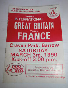BARLA Great Britain v France 3rd March 1990 Youth Match  Craven Park Barrow - Askam-in-Furness, Cumbria, United Kingdom - BARLA Great Britain v France 3rd March 1990 Youth Match  Craven Park Barrow - Askam-in-Furness, Cumbria, United Kingdom