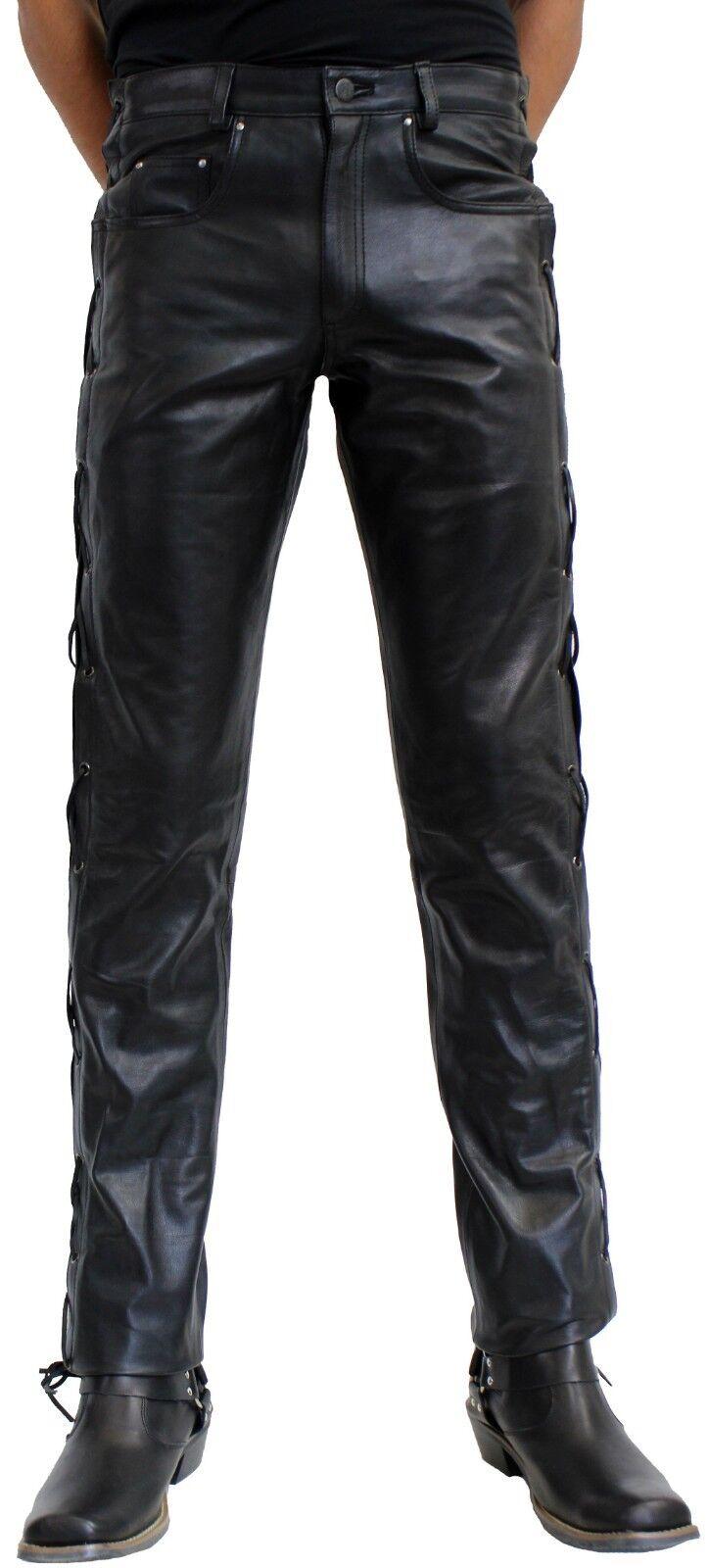 Schnürhose Bikerhose BOSS aus robustem Nappa Leder in braun oder schwarz