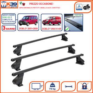 3-BARRE-Portatutto-Portapacchi-Attacchi-SPECIFICI-FIAT-DOBLO-039-2000-gt-2009-Acciaio
