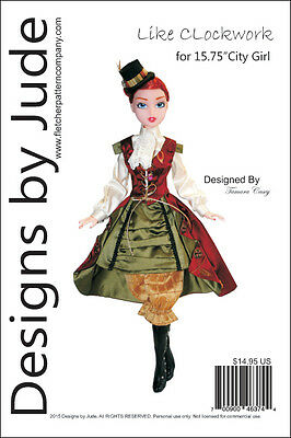 "Like Clockwork Doll Clothes Sewing Pattern for 15.75"" City Girl Dolls Tonner"