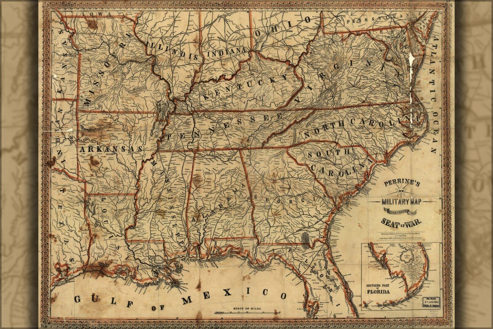Plakat, Viele Größen; Karte Showing Seat Of Krieg Süd U.S.1862