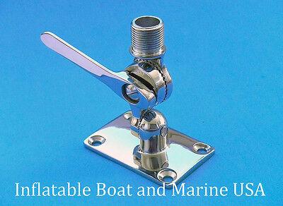 Boat Radio VHF Antenna Ratchet Mount Base - Marine 316 Stainless Steel