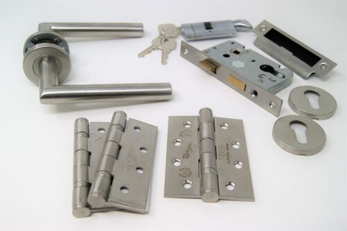 FOR 44//45MM FIRE DOOR Mitred Handle Pack Cylinder /& Turn Lock Set C//w Hinges
