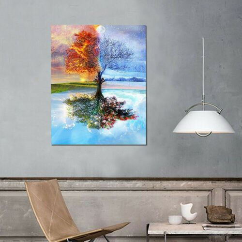 DIY Frameless Oil Painting By Number Kits Craft Paint On Canvas Spring Scenery