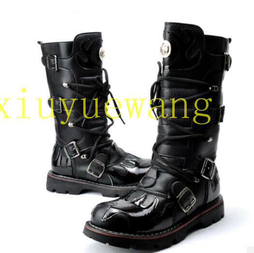 Uomo Mid Calf Stivali Lace Lace Lace Up Buckle High Top Shoes Riding Combat Military Comfy a3b4e4