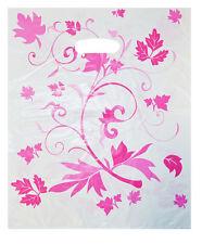 NEU 100 Plastiktüten Tragetaschen Beutel Bag im Blumen Look Pink 25x35cm TOP