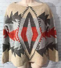 Vintage Lauren Ralph Lauren Lambs Wool Blend Aztec Print Thick Sweater LS Medium