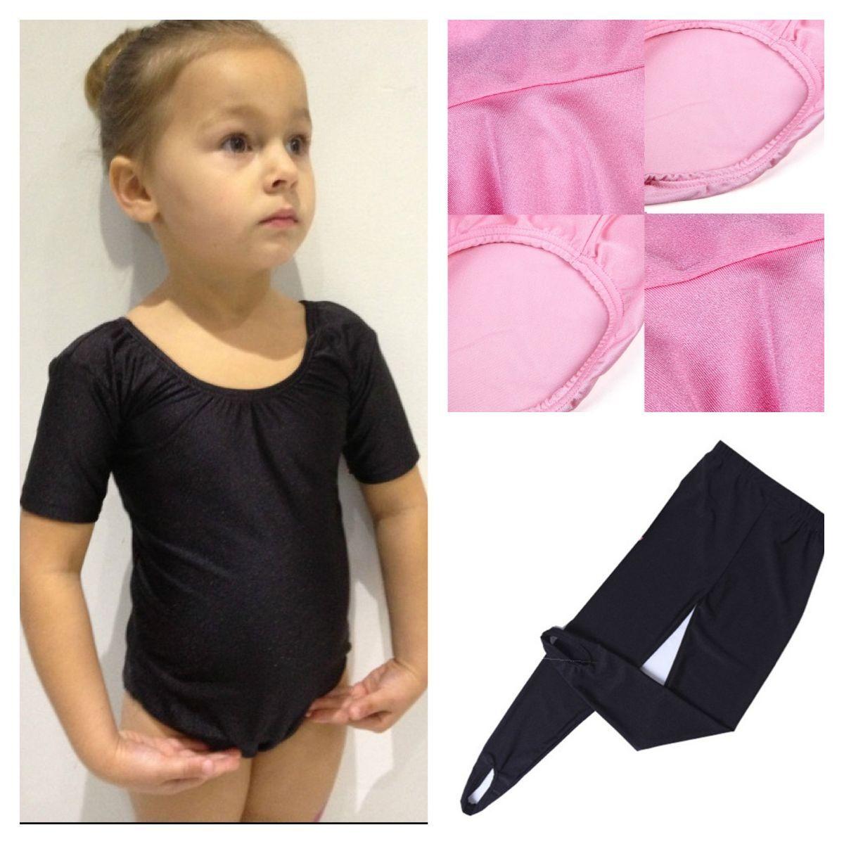 Black Pink Leotard.Ballet Gymnastics.3-14 Years.Dance Tights Lycra With Stirrups