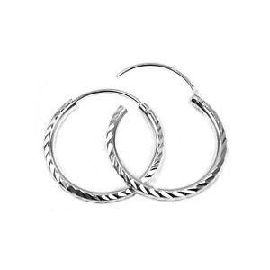 39800837775b34 Sterling silver hoop earrings, 20 mm diameter, heavy weight, diamond ...