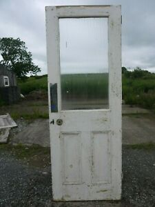 GL08-28-x-75-1-2-Old-Victorian-Period-Glazed-Pine-Door-with-Reeded-Glass