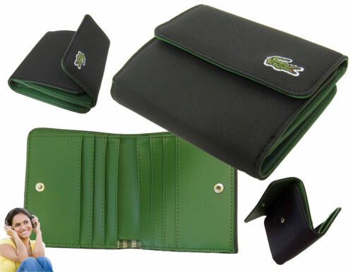 New Authentic Vinatge LACOSTE Ladies Girls PURSE WALLET ED Classic SLG 7 Black