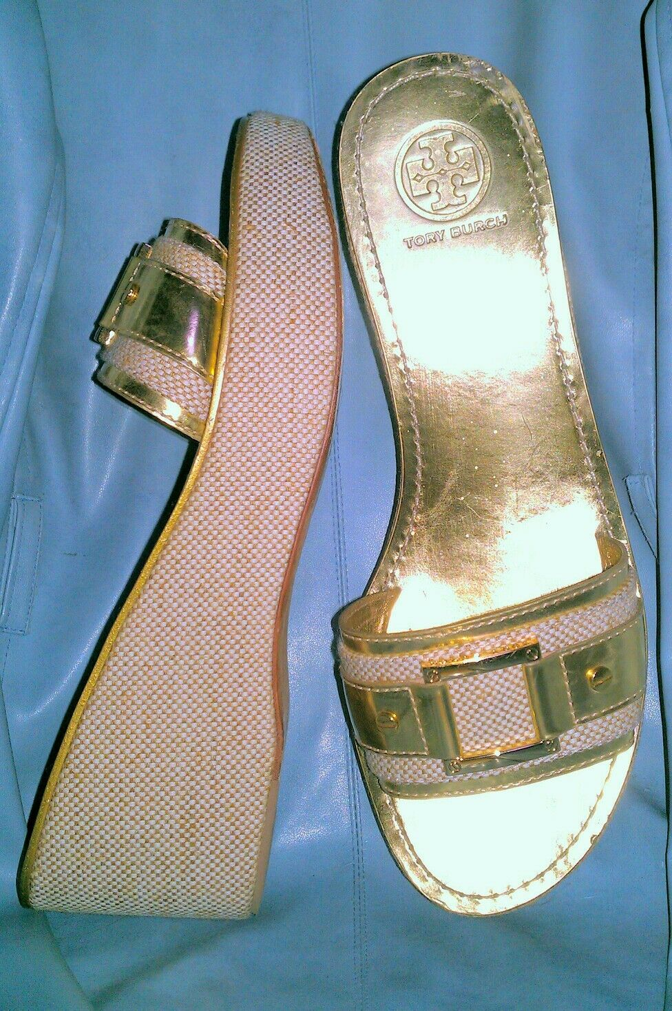 TORY BURCH  350 CLEOPATRA INSPIRED gold IVORY TAN CANVAS SANDALS 41.5 10.5 10