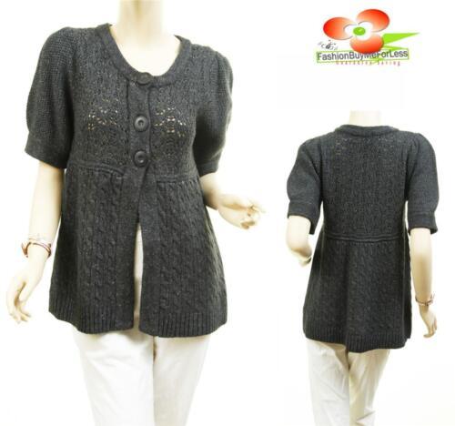 Women Gray Victorian Angora Wool Knit Crochet Ribbed Hem Sweater Cardigan Top