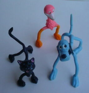 Vintage-LOT-BRABO-BLUE-DOG-BLACK-CAT-PINK-FLAMINGO-Bendy-Rubber-Figure-Hong-Kong
