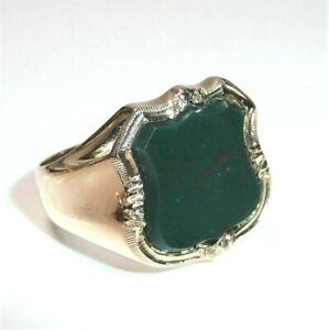 Anneau 585 or Jaune Wappen-Form - 4.00 Carats Jaspe / Vert Bloodstone 8,8 G Gr.