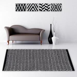 Détails sur Tapis Descente de Lit Salon Salle de Bain Décoration Noir &  Blanc