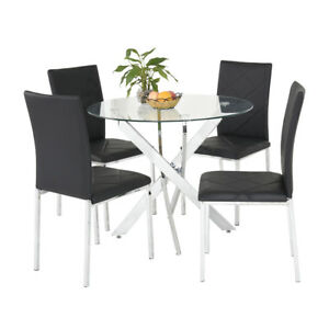 Glass Round Dining Table Set 2 4 Faux Leather Dining Chairs Set