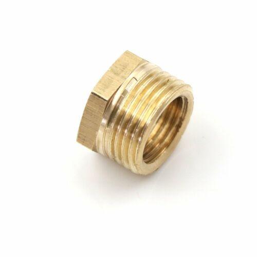 """3//8/""""MNPT x 1//4/""""NPT Metal Brass Fitting Reducing Bushing Pipe Reducer Adapter F"""