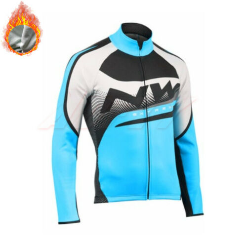 Fleeced Winter Long Sleeves Cycling Jerseys Tops Jacket Cold Thermal Sportswear