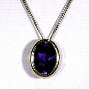 Pretty-Oval-Amethyst-9ct-Yellow-Gold-Slider-Pendant-Curb-Chain